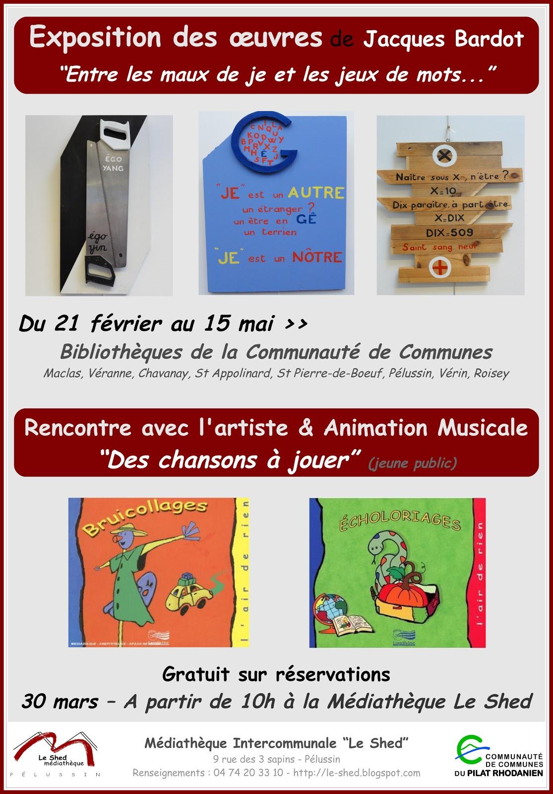 Exposition des œuvres de Jacques Bardot à la Médiathèque Le Shed de Pélussin